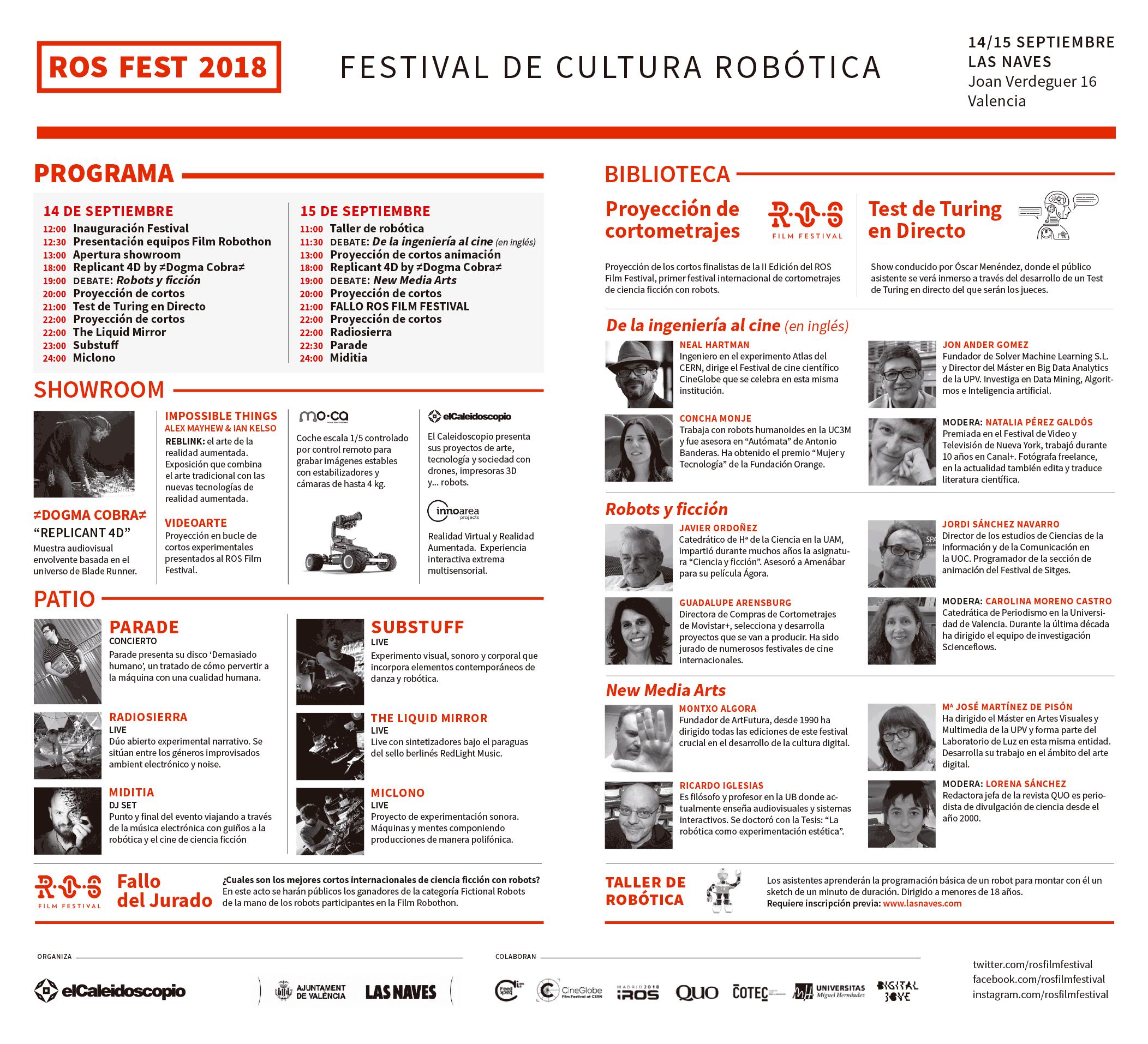 ROS FEST 2018, Festival de Cultura Robótica